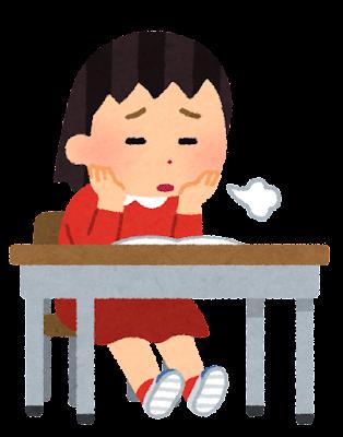 やる気のない小学生のイラスト(女子)
