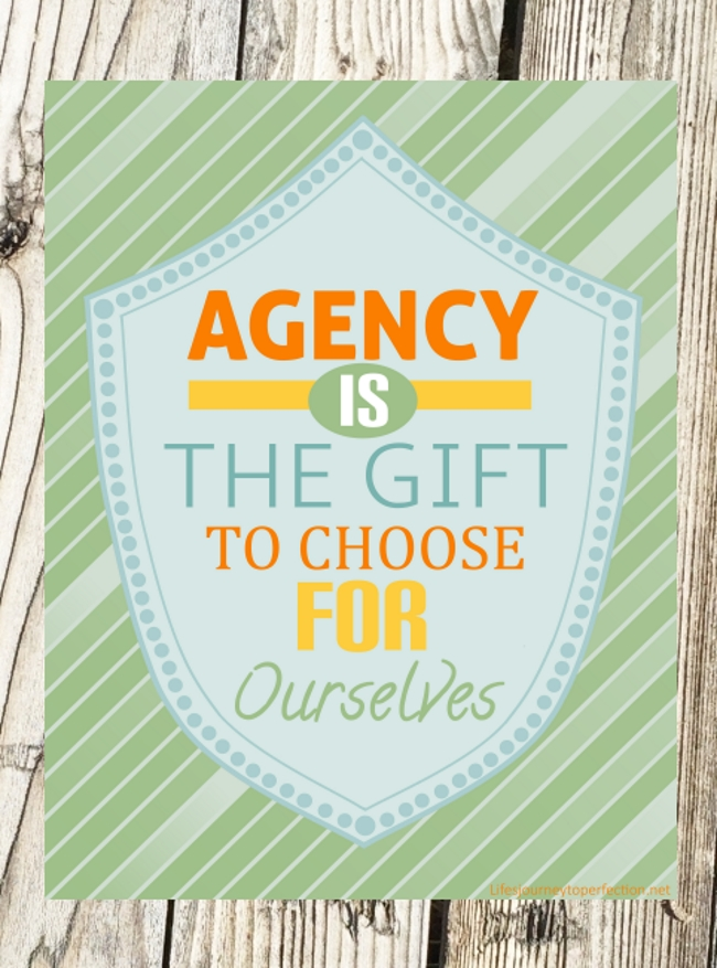 "Show the primary children the week's theme poster and invite them to repeat, ""Agency is the gift to choose for ourselves"" It is a gift to be able to choose ..."