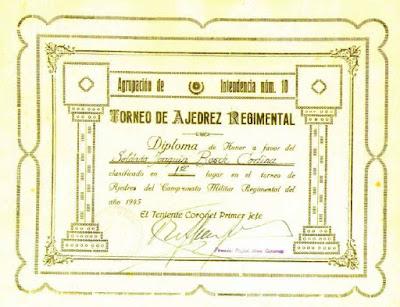 Diploma de vencedor del Torneo de Ajedrez Regimental 1945