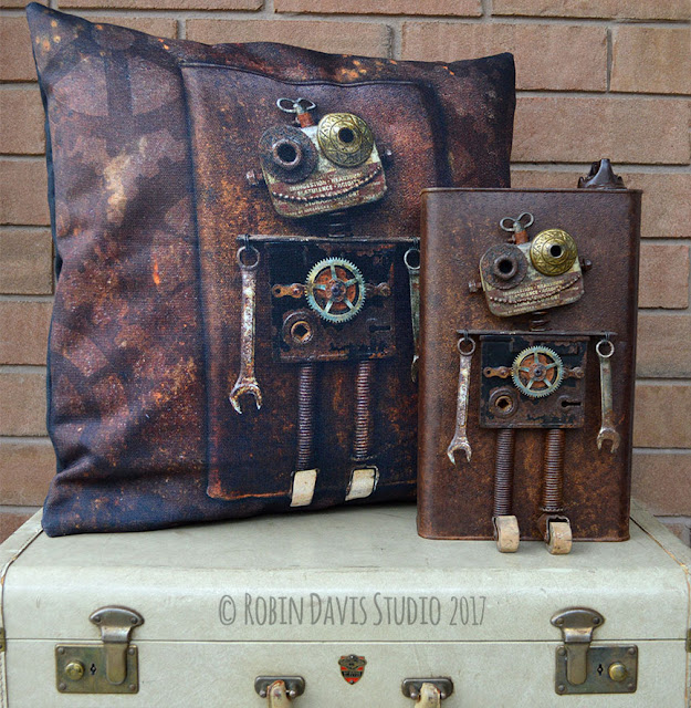Rustic Decorative Robot Pillow by Robin Davis Studio