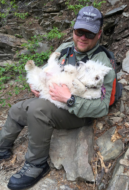 Pascal Perreault cradling a tired Maggie on the York river.