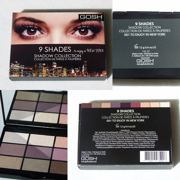 Review und Swatches zur Gosh Lidschatten-Palette 9 Shades to enjoy in New York