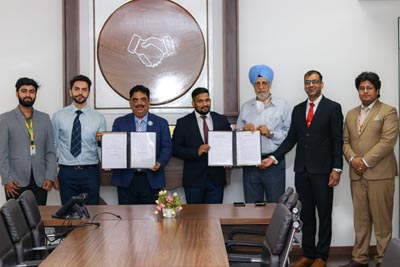 CT University Chancellor Charanjit S Channi, MD Manbir Singh, Vice Chancellor Dr. Harsh Sadawarti along with Vinod Gupta, President, ISIE during signing of a MoU