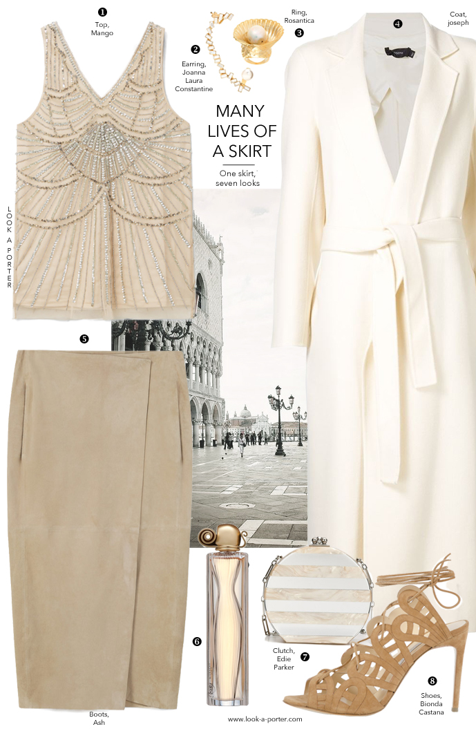 Many ways to style a suede midi skirt via www.look-a-porter.com style & fashion blog / outfit ideas daily / Styling with Mango, Bionda Castana, Romantica, Joseph & more
