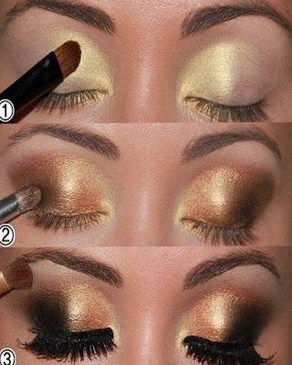 maquillaje de ojos dorados