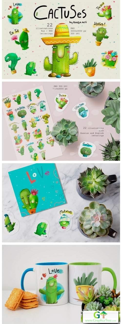 Cactus Watercolor Illustrations