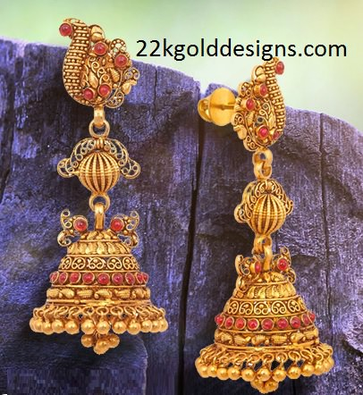 Malabar Gold Temple Design Jhumkis