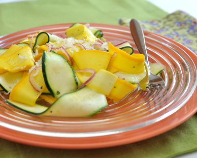 Simple Zucchini Ribbon Salad, another super-simple spring salad ♥ AVeggieVenture.com. Low Cal. Low Carb. Weight Watchers Friendly.