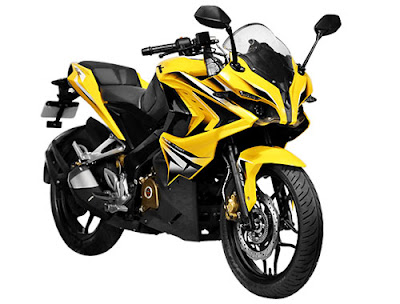 Bajaj Pulsar RS 200 Yellow Side Front view HD Image