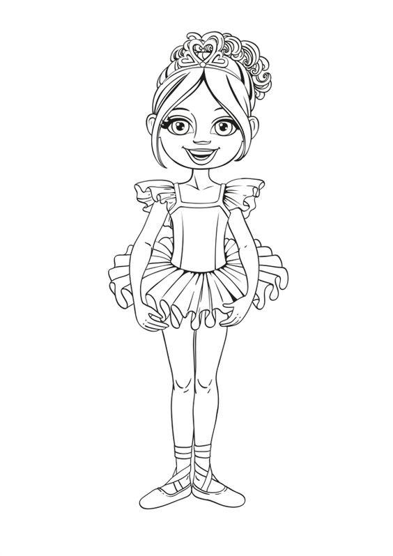Hình tô màu tập tô bé gái múa bale