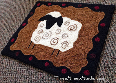 'Lamb' Rug Hooking by Rose Clay at ThreeSheepStudio.com