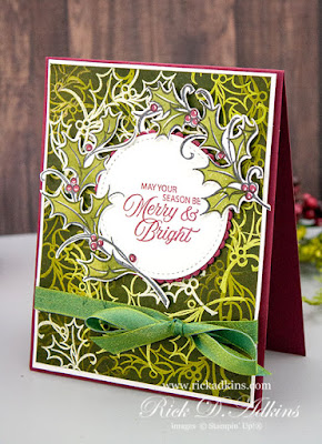 Play along with us this week for the Spot Creative Challenge.  Click here to learn more about my Emboss Resist Card using the Joyful Holly Stamp Set
