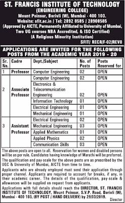 St.Francis Institute of Technology, Mumbai, Recruitment 2019 Professor/ Assistant Professor/Associate Professor Jobs Application Form