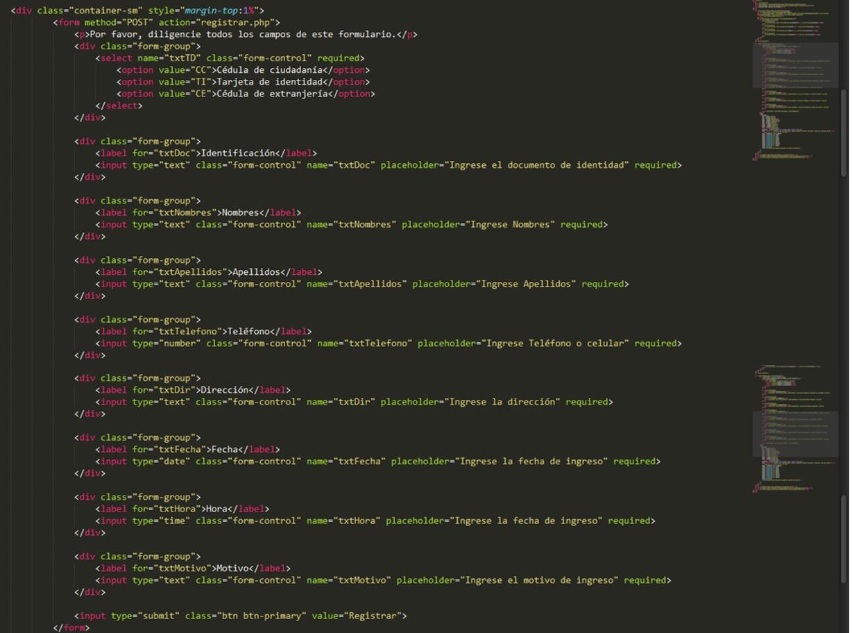 Código HTML del formulario insertar
