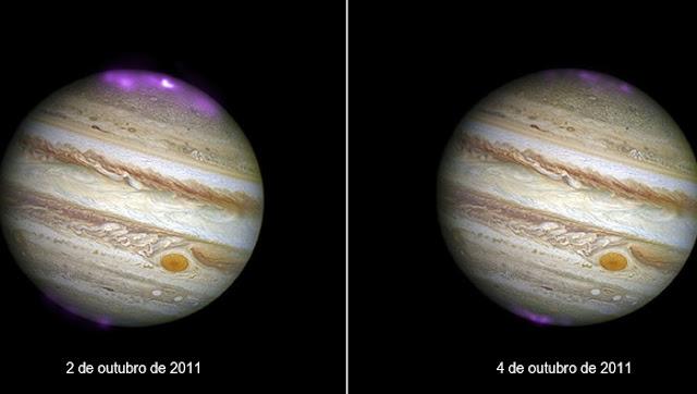 auroras polares em Júpiter