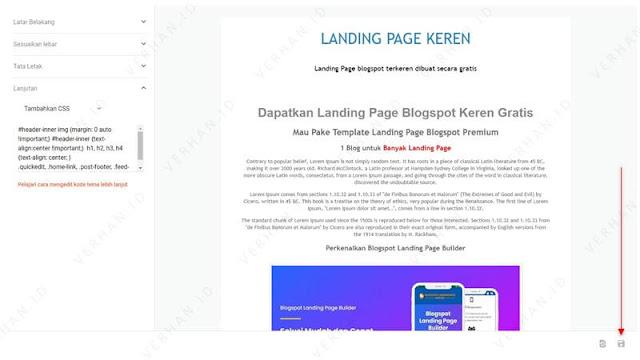 simpan desain landing page blogger
