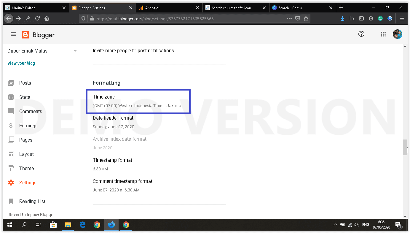 dashboard blogger baru setting time & date format