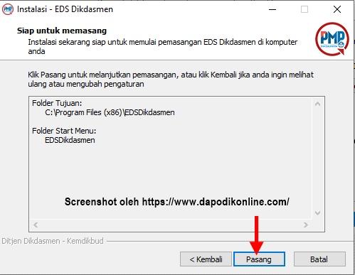 Aplikasi EDS Dikdasmen/PMP Offline 2019.11 siap untuk dipasang, silakan klik pasang