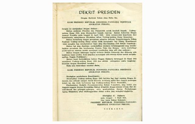 Isi Dekrit Presiden 1959