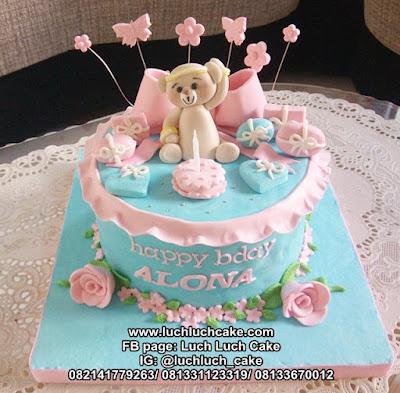 Kue Tart Fondant Beruang Teddy Bear