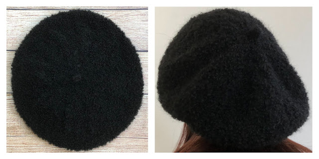 Black beret knitted with DROPS Alpaca Boucle