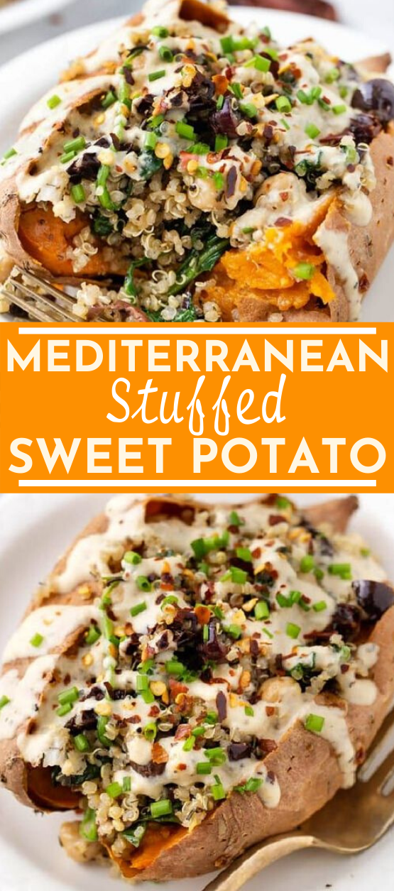 Vegan Stuffed Sweet Potatoes with Mediterranean Quinoa #vegan #dinner #sweetpotato #glutenfree #vegetarian