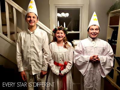 Santa Lucia Day Attire for Boys and Girls in the Light