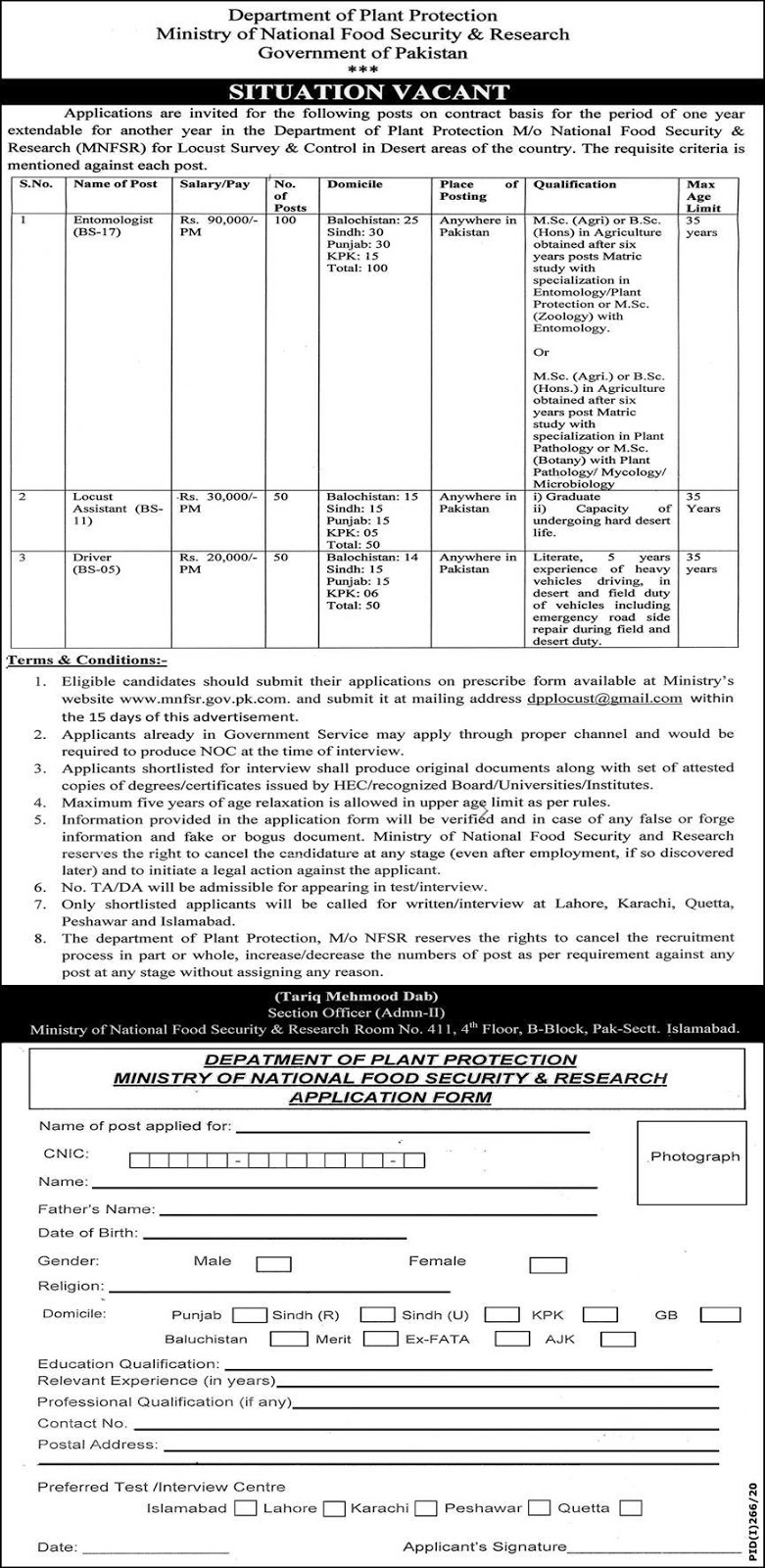 Ministry of National Food & Research Islamabad Jobs