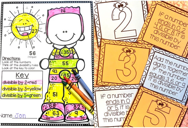 Divisibility Rules Anchor Charts, Activities and Worksheets for 4th grade and 5th grade math