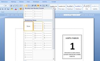 Cara Membuat Nomor Kartu Parkir Otomatis Di Microsoft Word