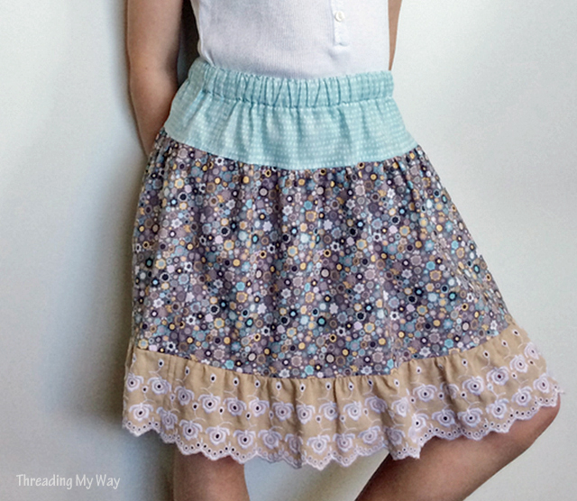 Tiered, gathered waist ruffle skirt. Tutorial by Threading My Way