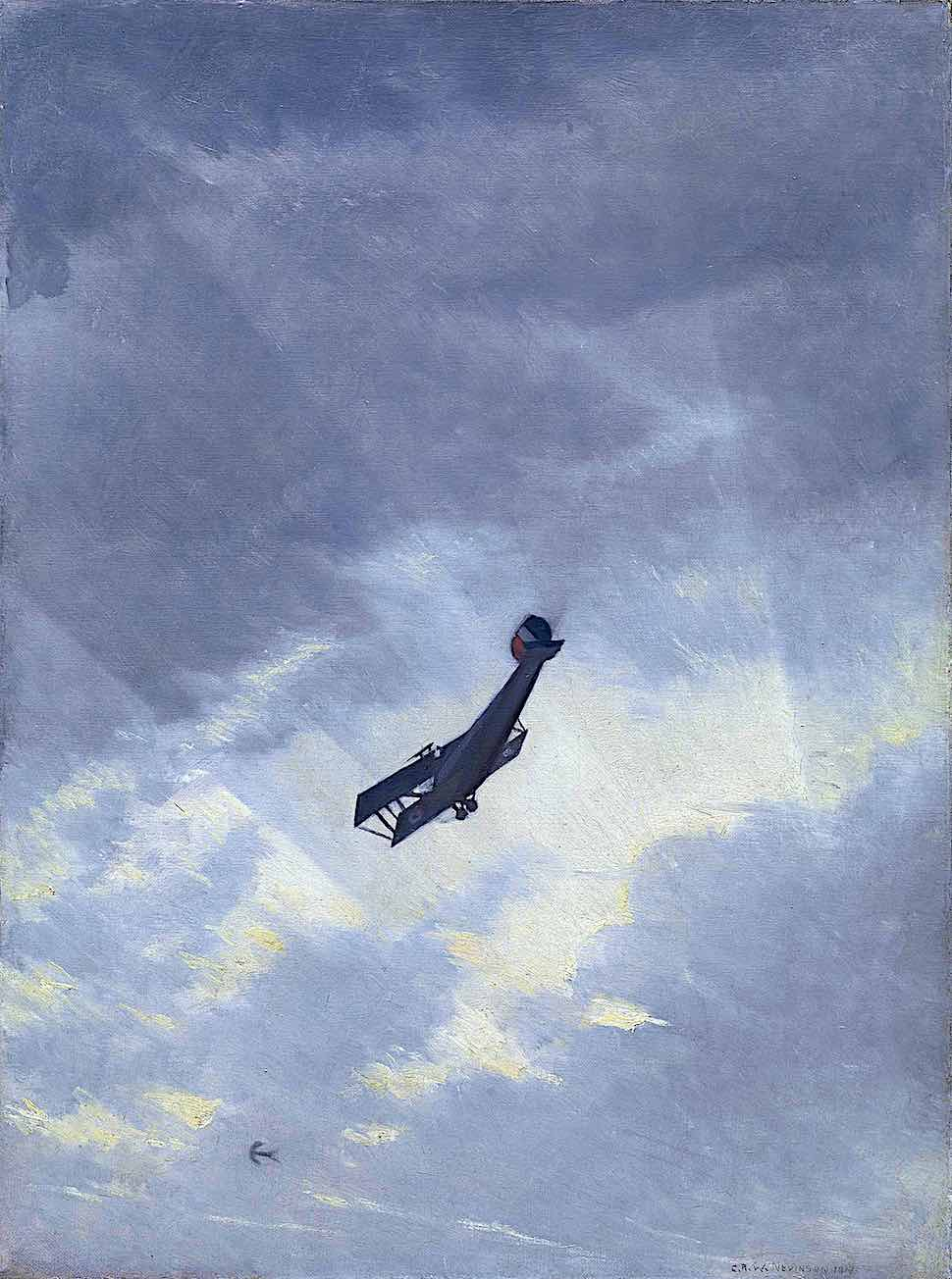 a C.R.W. Nevinson painting of a ww1 fighter plane in the sky