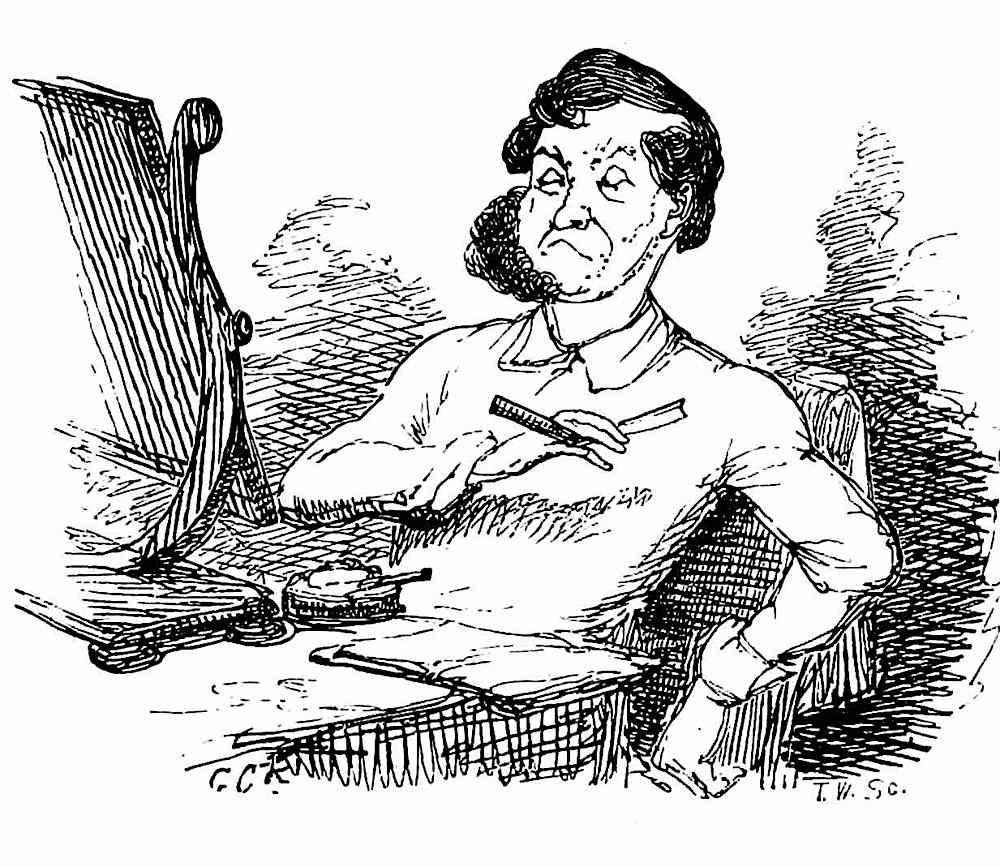 A George Cruikshank comical drawing of a man shaving, 1800s