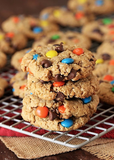 Stack of Peanut Butter Monster Cookies Image