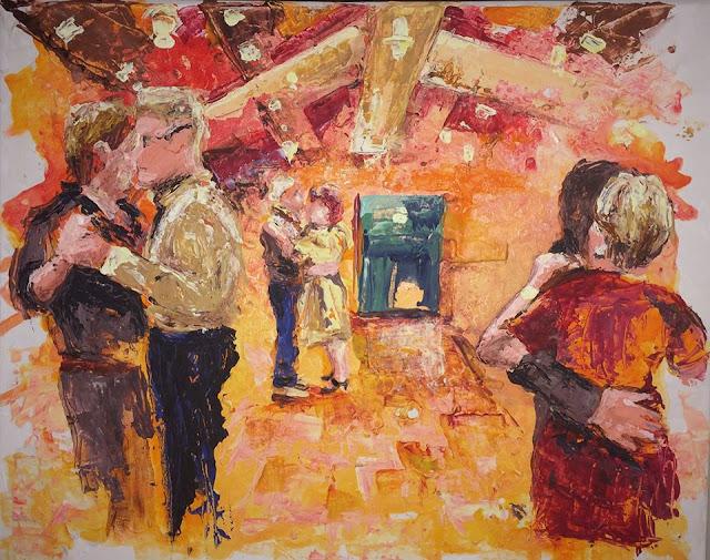 une peinture acrylique de Karine Babel, thé dansant, fête