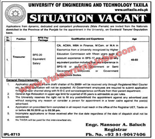 University Of Engineering & Technology Taxila (UET) Jobs September 2019 For Latest Jobs In Treasurer