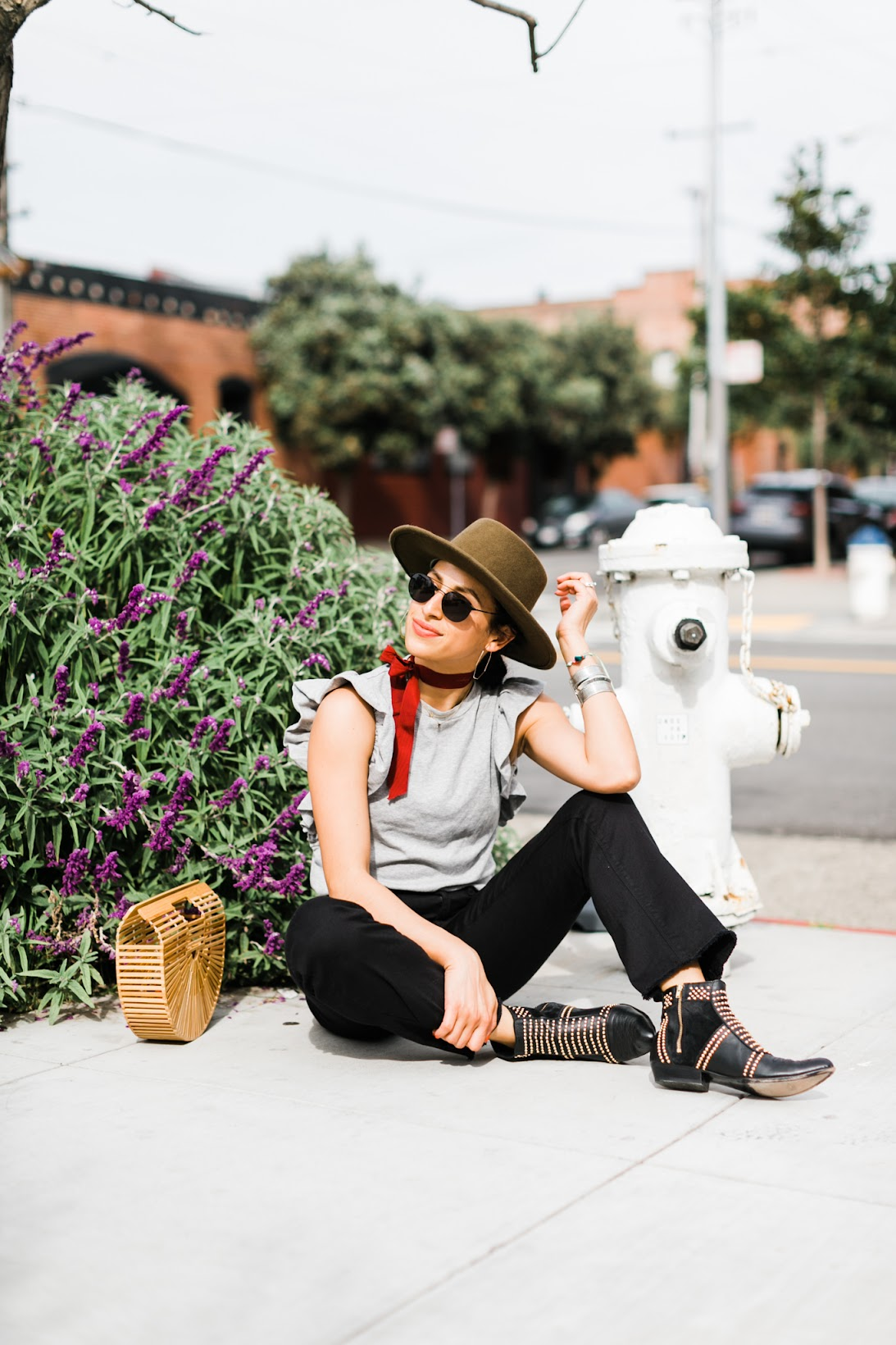 most photogenic street in San Francisco, coolest neighborhood in San Francisco, how to dress for a San Francisco summer, Cult Gaia, Jigsaw denim, ruffle tee shirt, Anine Bing Charlie boots, Goorin Bros. hat