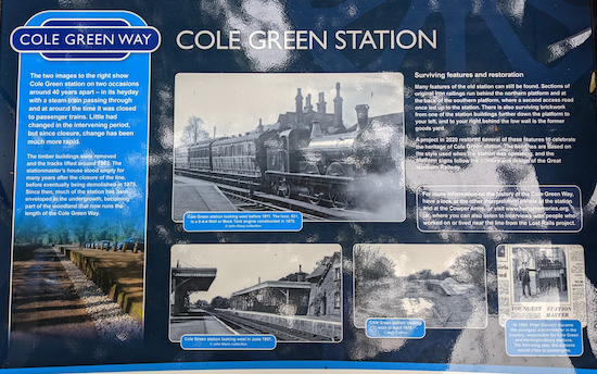 One of the signs at Cole Green station