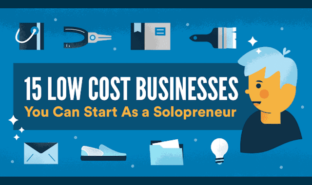 15 Low Cost Business Ideas for the Aspiring Solo Entrepreneur #infographic