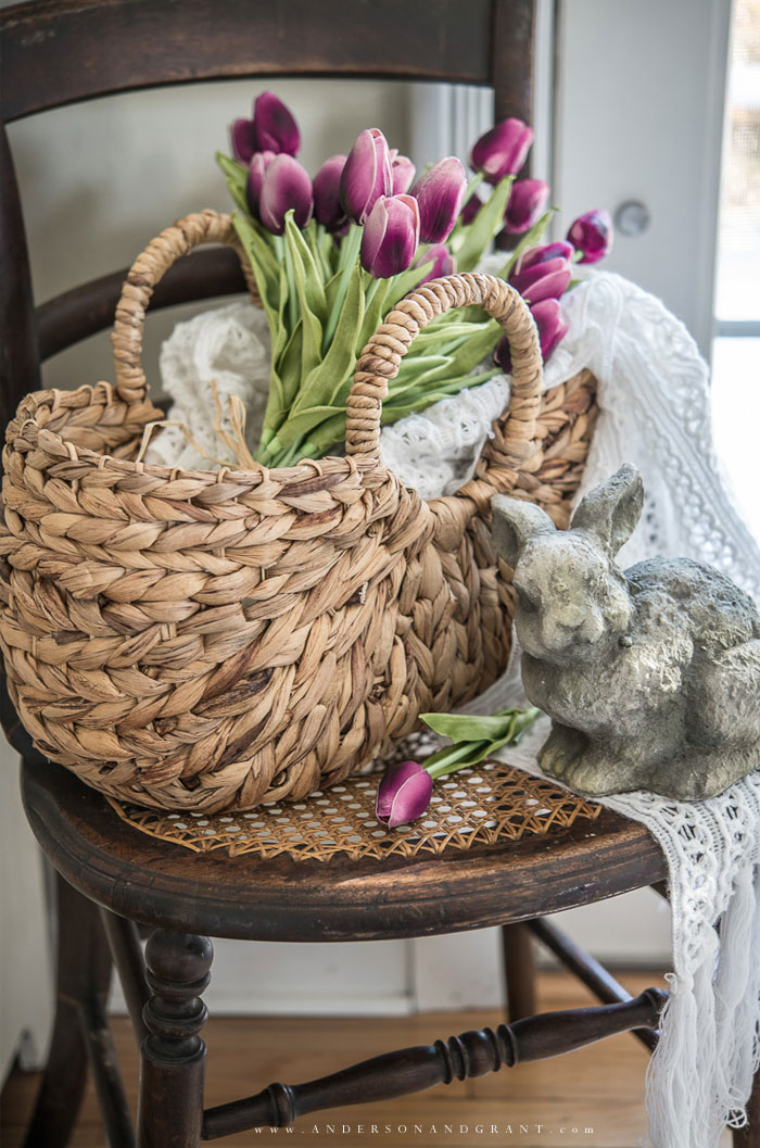Basket of tulips and Easter bunny
