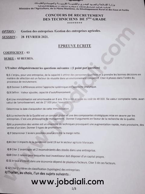 Exemple Concours Technicien 3ème grade Gestion des entreprises - Ministère de l'agriculture de la pêche maritime