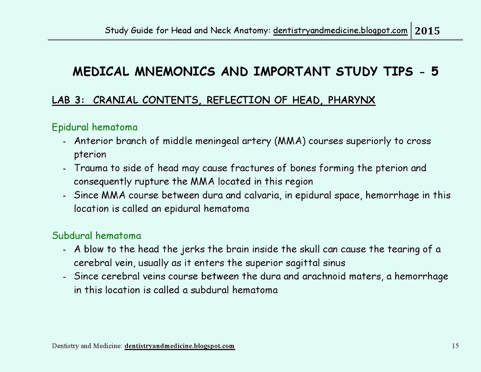 Study Guide For Head And Neck Anatomy Medical Mnemonics Cranial