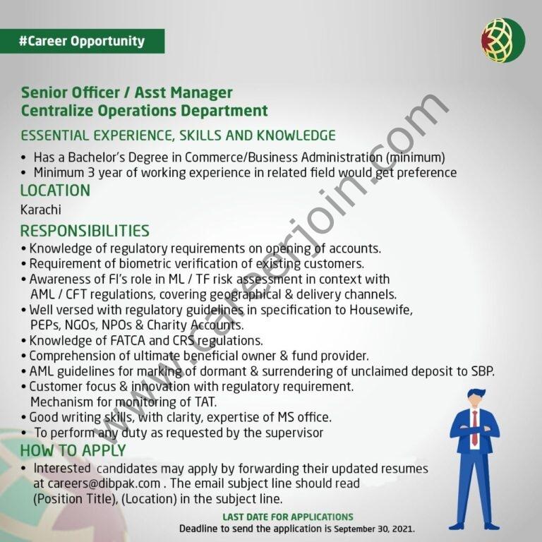 Dubai Islamic Bank Limited DIBP Jobs Senior Officer / Assistant Manager 2021