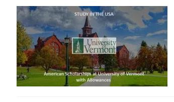USA Scholarships at University of Vermont for Foreign Students