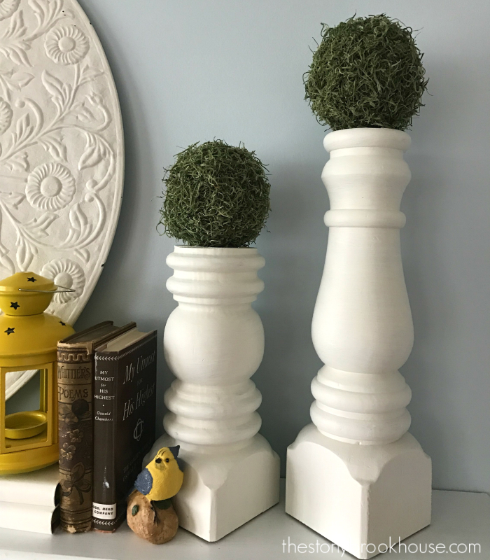 DIY Moss Covered Balls on candlesticks