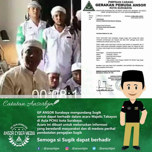 Undangan Tabayun dari GP Ansor Surabaya untuk Sugi Nur yang Telah Buat Kabar Bohong