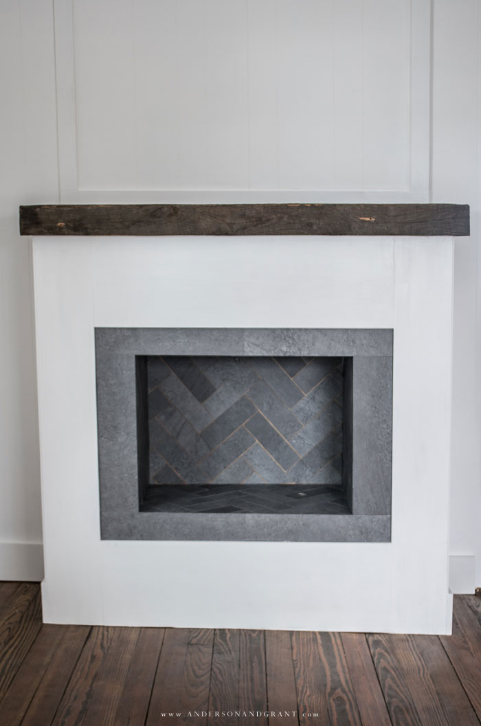 Gray vinyl tile in herringbone pattern