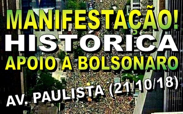 Manifestação histórica pró Bolsonaro na Avenida Paulista em São Paulo - 21/10/2018 (Imagem: Reprodução/Internet)