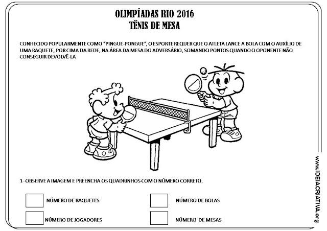 Atividade Olimpíadas Rio 2016 Tênis de Mesa