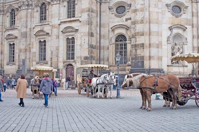konie w centrum Drezna, bryczki, detale miasta